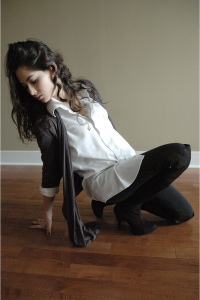 white shirt - gray Forever 21 cardigan - black Urban Outfitters tights - black a