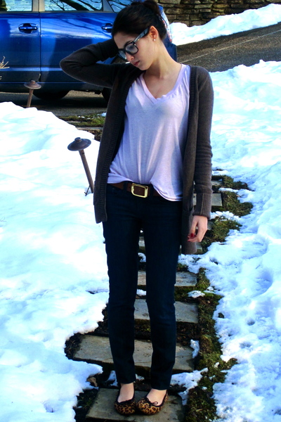 brown hollister cardigan - pink Urban Outfitters t-shirt - JCrew jeans - brown E