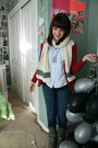 Scottish-scarf-urban-renewal-blouse-forever-21-sweater-aldo-necklace