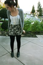 white thrifted top - black Urban Outfitters shorts - heather gray H&M cardigan -