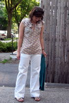 pink Liberty of London for Target blouse - white JCrew pants - gold Madden Girl