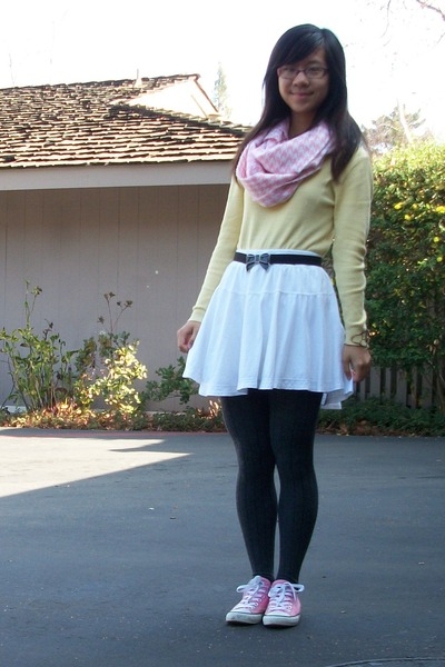 light pink scarf - gray tights - ivory skirt - light yellow top