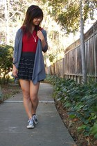 black skirt - heather gray cardigan - red top