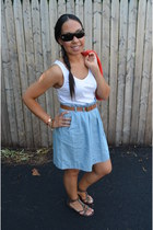 white Forever 21 dress - sky blue Forever 21 dress - coral H&M cardigan - dark b
