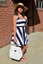 navy H&M dress - camel Steve Madden hat - white TJ Maxx purse - gold Bandelino s