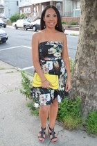 black Charlotte Russe dress - yellow clutch H&M purse - black Nine West wedges