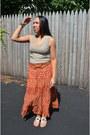 Burnt-orange-maxi-skirt-dots-skirt-dark-khaki-forever-21-top-beige-tj-maxx-s