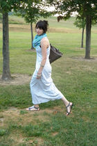 gray Gap dress - silver Target shoes - blue Old Navy scarf