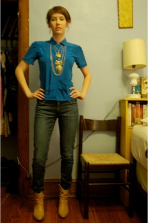 H&M jeans - Frye boots -  necklace
