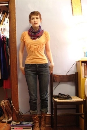 DIY shirt - borrowed scarf - H&M jeans - thrifted boots