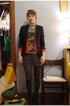 thrifted blazer - garment district sweater - vintage dress - vera wang tights -