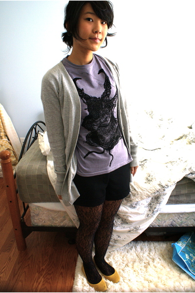 purple drivebypress shirt - gray Target sweater - black Forever 21 shorts - blac