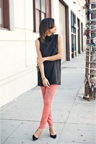 black Kahlo blouse - ruby red Articles of Society jeans