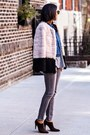 Blue-wrangler-jacket-dark-brown-prada-boots-ivory-aryn-k-coat