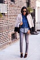 blue Wrangler jacket - dark brown Prada boots - ivory aryn k coat