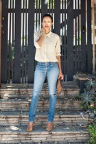 neutral Equipment blouse - sky blue Wrangler jeans - nude Topshop pumps