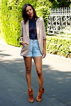light pink Forever 21 blazer - burnt orange vintage boots