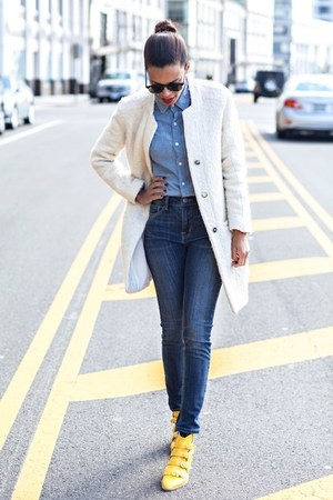 navy BDG jeans - yellow Modern Vice boots - white Zara coat - blue BDG shirt