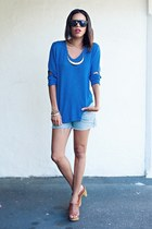 blue LnA sweater - light blue Forever 21 shorts - brown mossimo supply co clogs