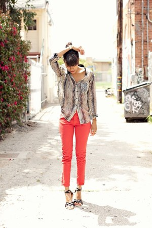 carrot orange Zara jeans - beige Zara blouse - black Forever 21 sandals