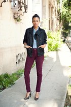 maroon American Apparel pants - black vintage jacket - sky blue BDG top