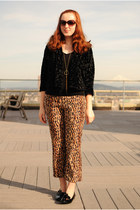 black Macys cardigan - brown leopard print ABS pants