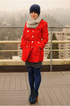 red trench coat calvin klein coat - navy Steve Madden boots - blue Target tights