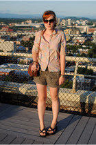 beige vintage blouse - brown bag - army green Loft shorts - dark brown sandals