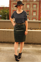 black striped t-shirt - dark green leather pencil skirt - black Dollhouse wedges