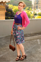 green flowered skirt - dark brown bag - dark brown Madden Girl heels