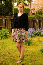 pink floral print skirt - black Gap shirt - black Macys cardigan