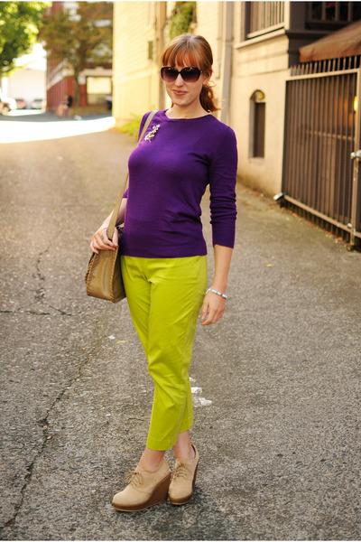 beige wedges - purple sweater - chartreuse pants