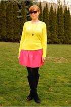 black suede BDG boots - yellow Gap sweater - hot pink Zara skirt