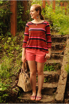 salmon ann taylor shorts - carrot orange striped StyleMint shirt