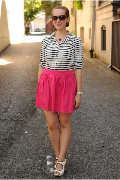hot pink Zara skirt - black striped Forever 21 blouse - white sam edelman wedges
