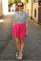 hot pink Zara skirt - black striped Forever 21 blouse - white sam edelman wedges