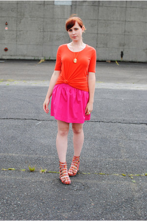 orange Mossimo shirt - hot pink Zara skirt - red Jeffrey Campbell wedges