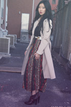 vintage skirt - leather Jessica Simpson boots - trench Burberry Prorsum coat
