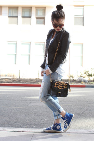 black leather collection b jacket - sky blue boyfriend Levis jeans