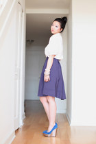 blue Aldo wedges - violet midi Forever 21 skirt