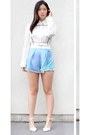 White-nastygal-shorts-white-zara-pumps