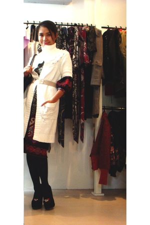 white vintage cardigan - black Thuong-H dress - beige greenlam belt - D&amp;G shoes