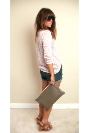 peach Forever 21 shirt - tan clutch taupe American Apparel bag - navy denim shor