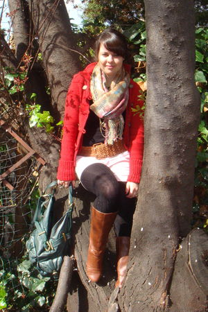 pink from spain scarf - brown Target boots - red ae sweater