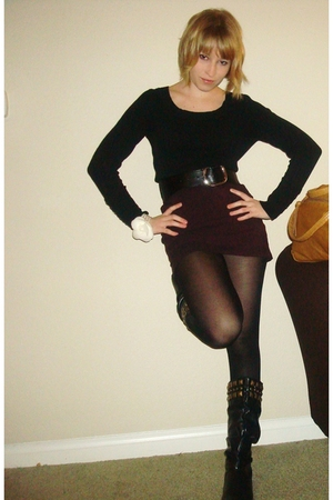 black BP sweater - Goodwill skirt - black Urban Outfitters belt - black Target t