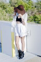 white Bill Blass shorts - black scarf - white sweater - black boots - brown Char