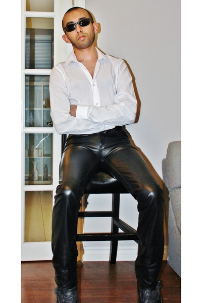 black leather boots - white slim fit shirt shirt - black sunglasses