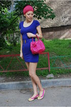 pink Prada purse - beige lanvin shoes - blue H&M dress - blue Miu Miu belt