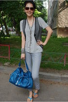 blue Francesco Biasia purse - silver t by alexander wang t-shirt - silver Moschi