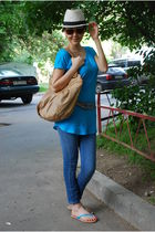 white H&M hat - beige Zac Posen purse - blue H&M top